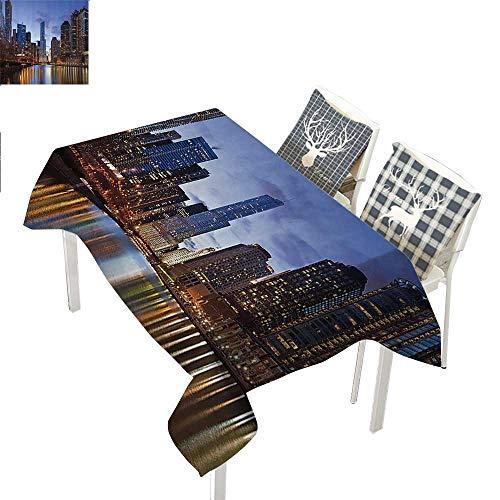 Contemporary Urban Cityscapes Americana Decor Collection tablecloths Party Decorations Chicago Riverside Bridge Scene Modern USA Boho City Prints Rectangle Tablecloth W60 xL102 inch ()