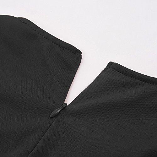 Vintage Poque Belle Noir Ceintur Dames Manches sans 1 Robes lgant Soire Crayon GF596 596 qgqE1d