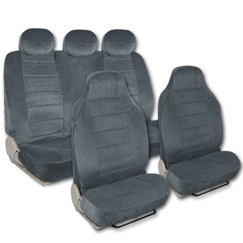 Charcoal Dotted Cloth Regal pattern 7 Piece Superior High Back Car Seat Covers