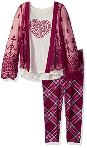 Nannette Little Girls' 2 Piece Kimono Legging Set with Chiffon Embroidered Lace, Pink, (Embroidered Girls Pant Set)