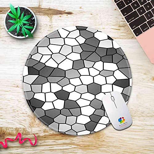Round Mouse Pad Mousepad with Grey and White,Stained Glass Pattern with Abstract Composition Mosaic,Charcoal Grey White and Grey Pattern Gel Rubber for Gaming Office - 200MMx3MM
