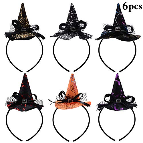 Halloween Witch Hat Hairhoop,Fascigirl 6 PCS Halloween Party Witch Spider Hat Headbands Caps for Halloween Party Carnivals