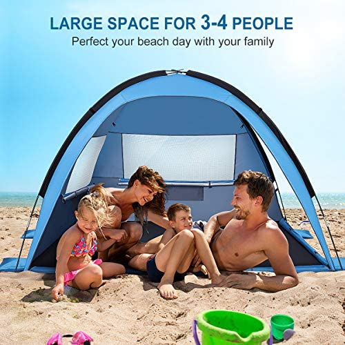 3-4 Person Large Sunshade Canopy UPF 50 S MOVTOTP Beach Tent Sun Shade Shelter