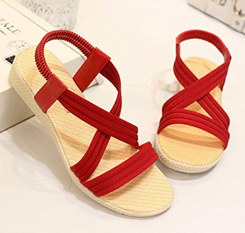 Sandals 1323red Elastic Solid Flat Women's Roman Summer Simple Femaroly Sandals O8YXwz