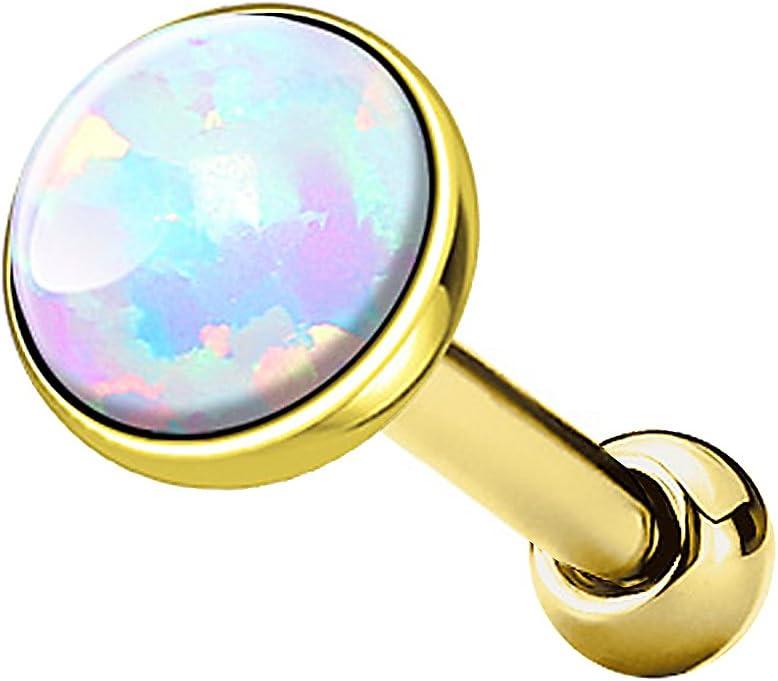 Piercingfaktor Tragus Piercing Helixpiercing Helix Ohr Cartilage Knorpel Stecker mit flachen Opal Steinen Rund