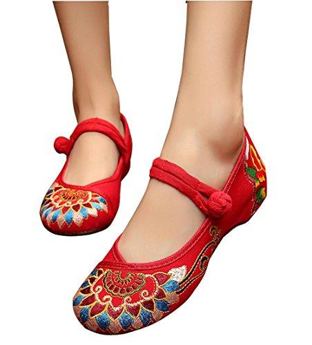 stoffa donne di ricamate nero Nuove singole scarpe delle red signore Scarpe di rosso wqE6IA