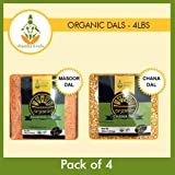 Shastha Organic Dal (Combo Pack of 4) Chana & Masoor Dals (USDA Certified Organic) Each Pkt 4 Lbs