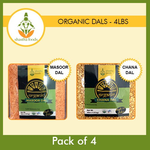 Shastha Organic Dal (Combo Pack of 4) Chana & Masoor Dals (USDA Certified Organic) Each Pkt 4 Lbs by Shastha Foods