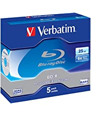 VBD-5P Verbatim Blu-Ray Bd-R 25Gb 5 Pack Jewel Case 6X 43715 Recordable Format for HDTV Recording and PC Data Storage, Utilises a Blue-Violet Laser to Read and Write Data Allowing for More Data