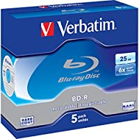 VBD-5P Verbatim Blu-Ray Bd-R 25Gb 5 Pack Jewel Case 6X 43715 Recordable Format for HDTV Recording and PC Data Storage…
