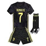 2018-2019 Away C Ronaldo #7 Juventus Kids Youth Soccer Jersey & Shorts & Socks Black