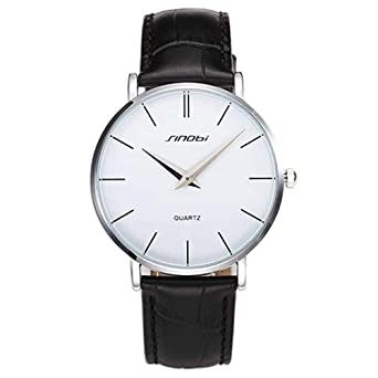 SINOBI Sport Ultrathin Leather Men Watches, Casual Quartz Simple Dial Minimalism Women reloj de pulsera