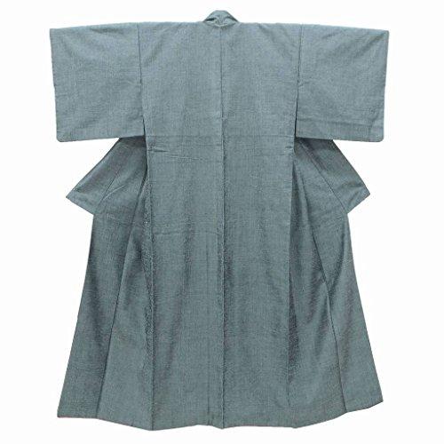 リサイクル 真綿紬 中古 正絹 つむぎ 裄63cm 緑系 裄Sサイズ 身丈Sサイズ ll0352a03