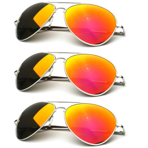 zeroUV - Premium Full Mirrored Aviator Sunglasses w/Flash Mirror Lens (3-Pack Silver | Orange)