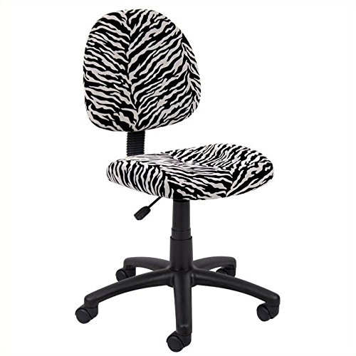 Boss Office Products B325-ZB Perfect Posture Delux Microfiber Task Chair without Arms in Zebra - Chair Zebra Print