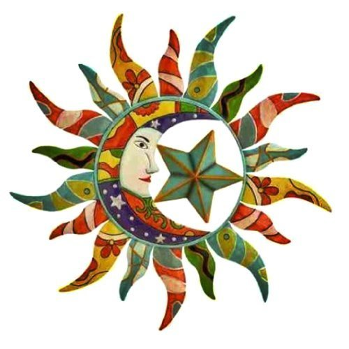 World Best Sun Moon & Stars Metal Wall Hanging Garden Art 24