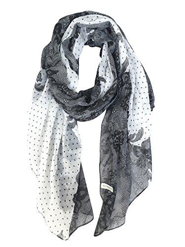 GERINLY Lightweight Scarves: Fashion Lace Print Shawl Wrap For Women (Womens Fashion Scarf)
