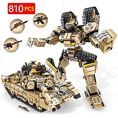CELECA - 810Pcs M1A2 Abrams Main Battle Tank Building Blocks Tiger Heavy Tank WW2 Deformation Robot Bricks Toys for Boys: Home Improvement