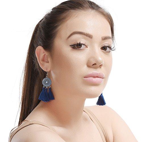 - D EXCEED Bohemian Navy Blue Tassel Earrings Sunflower Statement Earrings Ethnic Enamel Tassels Dangle Earrings for Women