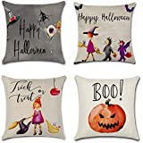 Foozoup Set of 4 Halloween Pillow Covers Bat Pumpkin Little Witch Element Decorative Throw Pillow Cases 18 x 18 inch for Sofa Couch