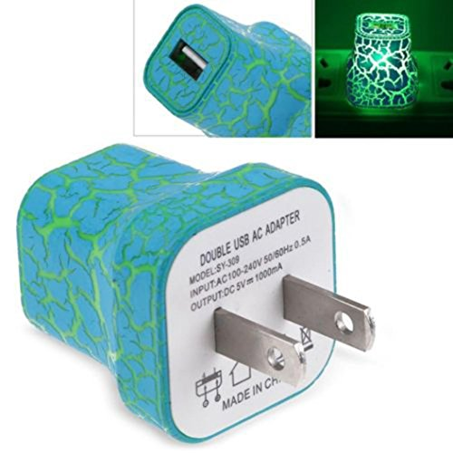 Iuhan 5V/1A LED USB For Home Phone Travel AC Wall Charging Charger Power Adapter (Green)