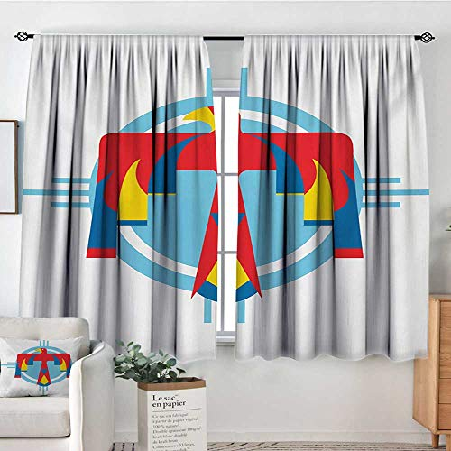 (Elliot Dorothy Decor Waterproof Curtains Southwestern,Native American Mysterious Symbol of Thunderbird Abstract Artistic Tribal Icon,Multicolor,Blackout Draperies for Bedroom Living Room 63