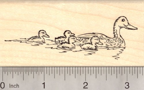 Duck with Ducklings Rubber Stamp