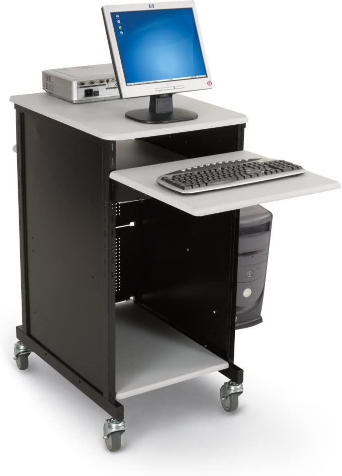 Balt Presentation Cart with CPU Holder, 18-Inch by 20-Inch by 47-1/2-Inch, Gray/Black