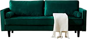 Peciafy Mid-Century Modern Loveseat/Sofa/Couch, with Upholstered Fabric in Brown for Living Room, Bedroom, Office, Apartment - Green