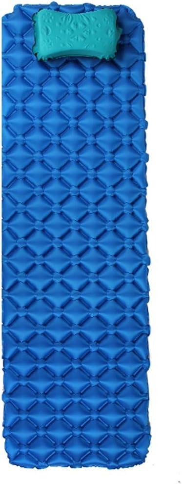 Colchón con Almohada autoinflables, Ultra Ligero portátil Huevo Nido de Humedad del cojín, colchón Grueso al Aire Libre con la Estera del Piso, Impermeabilizan IR Pad for Senderismo (Color : Blue)