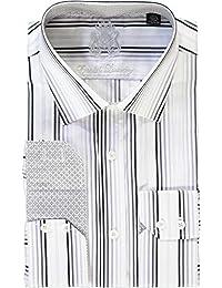 White Black Gray Stripes Dress Shirt