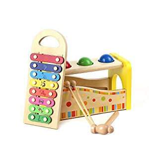 Joqutoys Wooden Pound & Tap Bench with Slide Out Xylophone Musical Toys for Toddlers