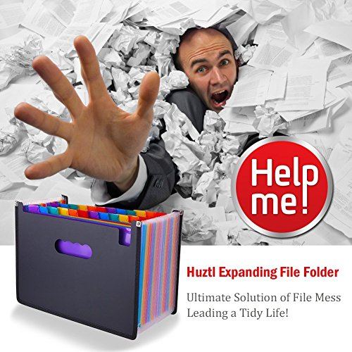 Expanding File Folder 24 Pockets Multi-Color Accordion Files Box A4 Document Organizer with Expandable Wallet Stand – Works on Legal Size and Letter Size by Huztl Photo #6