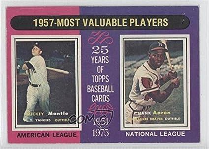 Mickey Mantle Hank Aaron Baseball Card 1975 Topps Base 195