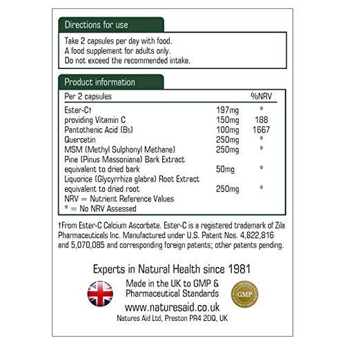 Natures Aid Quercetin Formula, Vitamin B5, Pine Bark Extract, MSM 90 Vcaps 4PK