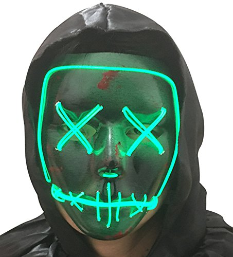 DevilFace Halloween Light Up Mask EL Wire LED Mask Frightening Wire Melbourne Shuffle (Green)