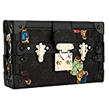 Evening Clutches Bag Floral Shoulder Bags Leather Crossbody Bag for Women Ladies Gift Ideas (Black)