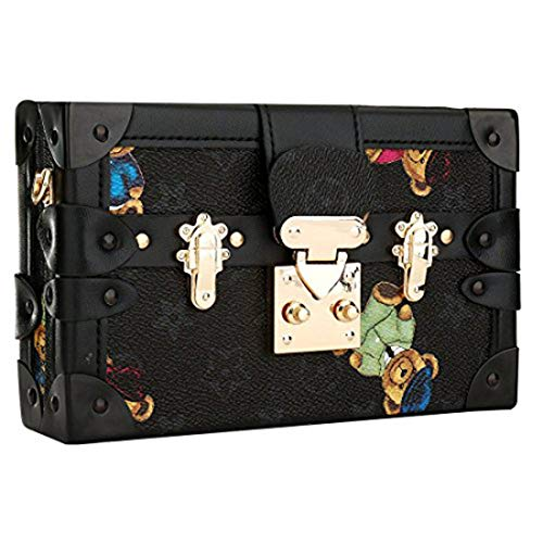 Evening Clutches Bag Floral Shoulder Bags Leather Crossbody Bag for Women Ladies Gift Ideas (Black) by KNUS