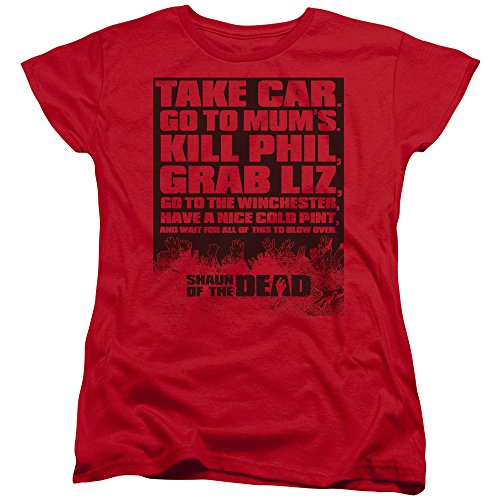 Shaun of The Dead Simon PEGG Zombie Comedy Movie List Women's T-Shirt Tee Red (Best Of Simon Pegg)