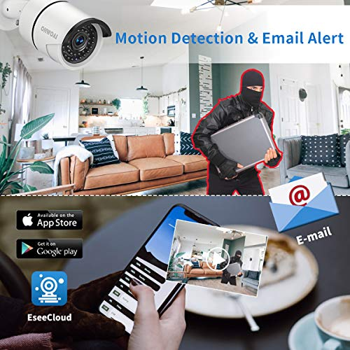 【8CH Expandable.Audio】 OHWOAI Security Camera System Wireless, 8CH 1080P NVR, 4Pcs 1080P HD Outdoor/Indoor IP Cameras,Home CCTV Surveillance System (No Hard Drive) Waterproof,Remote Access,Plug&Play