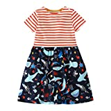 Veepola Kid Baby Girls Cartoon Ocean Animals Print Striped Dress Casual Dresses (5T)