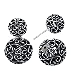 She Lian Double Sided Front Back Round Hollow Ball Earrings (Type 3-Antique Silver Tone)