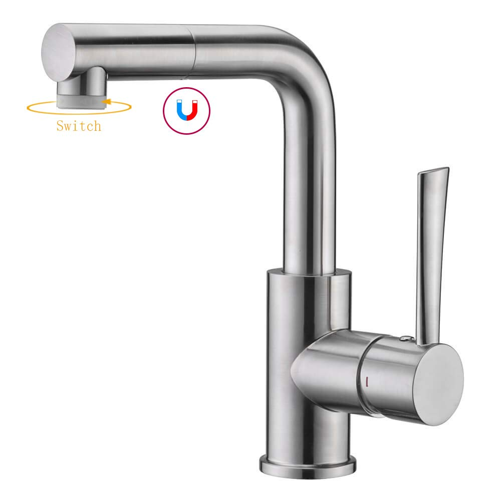 Bar & Prep Sink Faucet, Pull Out Bathroom Faucet in Brush Nickel, Wet & Mini Bar Faucet by CREA