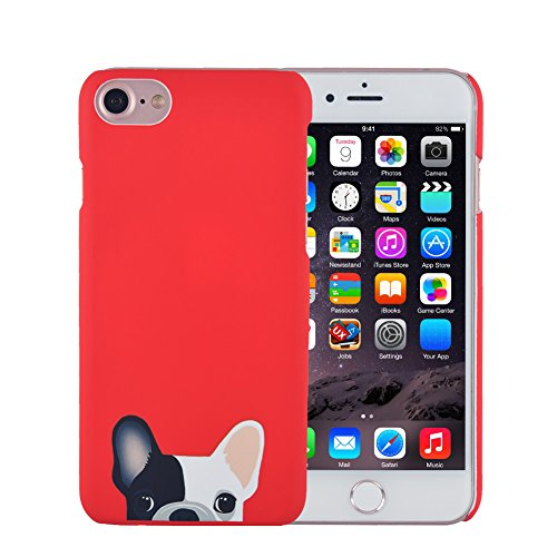 iPhone 8 Case, iPhone 7 Case, FACEVER Cute French Bulldog Anti-fingprint Full Printed Hard Plastic Ultra Slim Cover for iPhone 8 7 -Red Dog