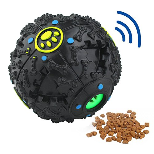 Tricky Treat Ball (MagicCindy Smarter Interactive IQ Treat Ball Dog Toys Ball, 4.7 Inch, Black)