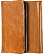 """ProCase Genuine Leather Case for iPhone XR, Vintage Wallet Folding Flip Case with Kickstand Card Holder Protective Cover for Apple iPhone XR 6.1"""" (2018 Release) -Brown"""