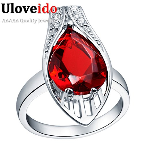 Myn Jewelry New Fashion Ring Silver Zircon Simulated Red/Purple/Blue CZ Ring topaze mystique Engagement Wedding J276