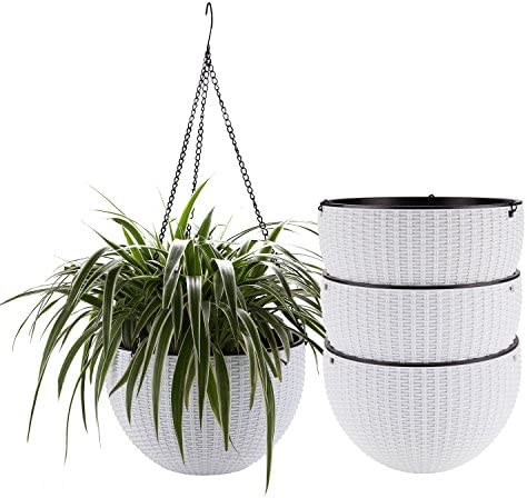 T4U Plastic Hanging Planter White Pack of 4, Self Watering Basket Round Flower Plant Orchid Herb Holder Container for Home Office Garden Porch Balcony Wall Indoor Outdoor Decoration Gift