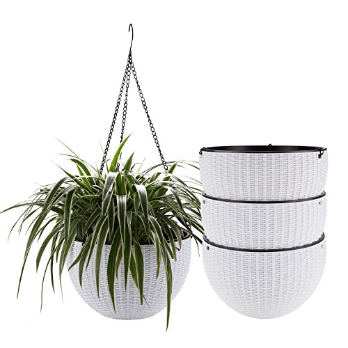 T4U Plastic Hanging Planter White Pack of 4, Self Watering Basket Round Flower Plant Orchid Herb Holder Container for Home Office Garden Porch Balcony Wall Indoor Outdoor Decoration Gift (Best Plants For Screened Porch)