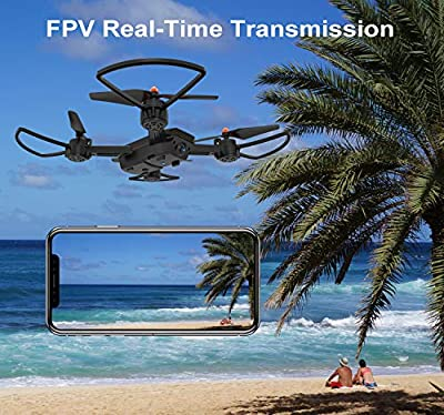 Drone with Camera, TOPVISION FPV RC Drone for Beginners with 720p and 480P Camera 120 Wide Angle WiFi Quadcopter with Altitude Hold Headless Mode, VR Mode, Orange by T TOPVISION